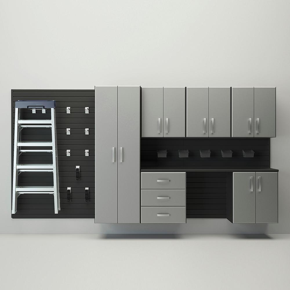 7pc Deluxe Cabinet Storage Set   Black/Silver