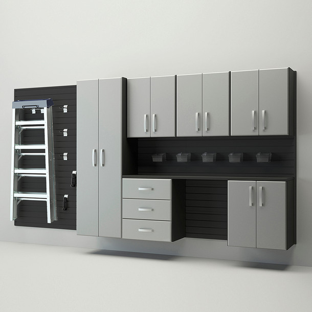 7pc Deluxe Cabinet Storage Set - Black/Silver