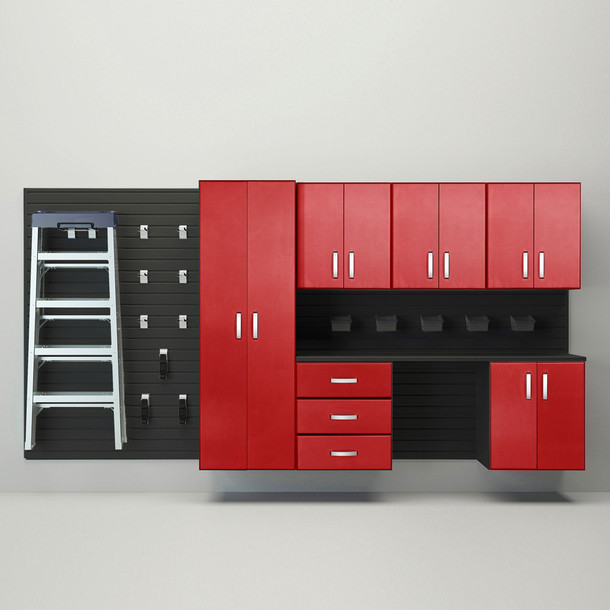 7pc Deluxe Cabinet Storage Set - Black/Red Carbon