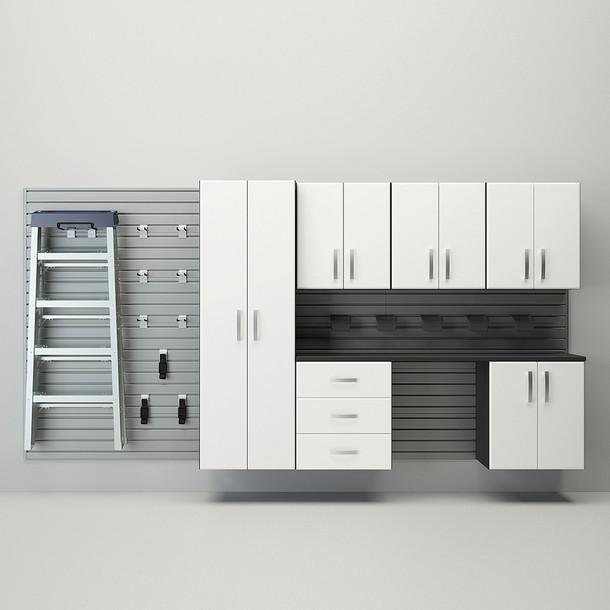 7pc Deluxe Cabinet Set - Silver/White