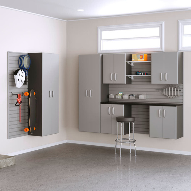 7pc Cabinet and Shelf Set - Silver/ Silver