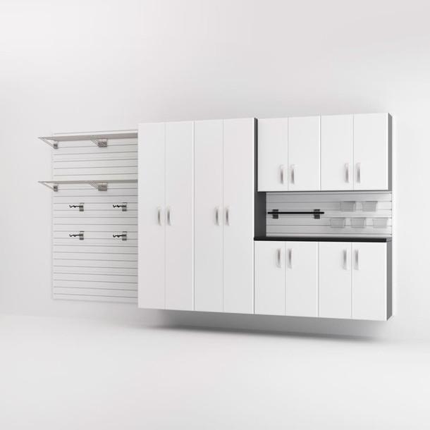 7pc Cabinet and Shelf Set - White/ White