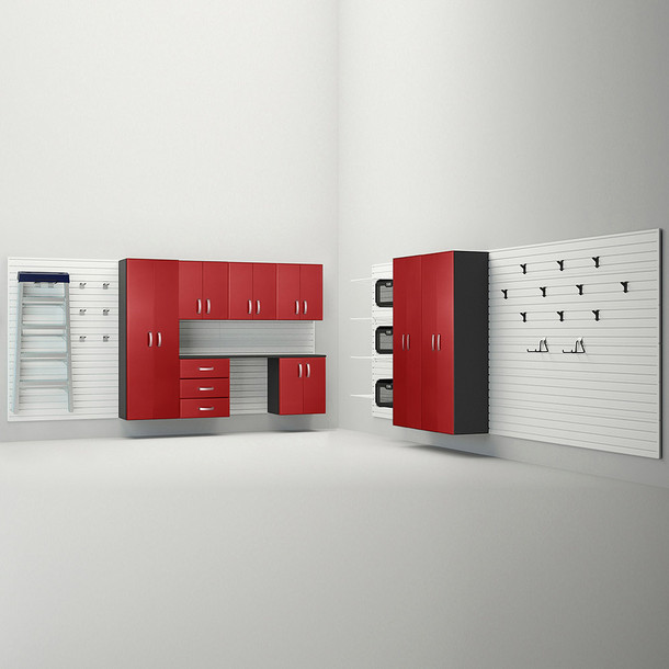 9pc Jumbo Cabinet Storage Set - White/Red Carbon