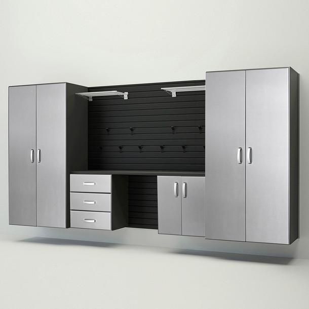 5pc Deluxe Garage Workstation - Black/Platinum Carbon