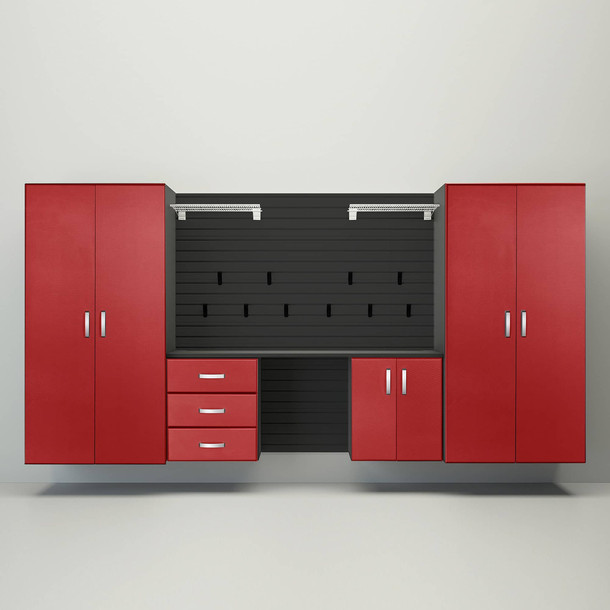 5pc Deluxe Garage Workstation - Black/Red Carbon