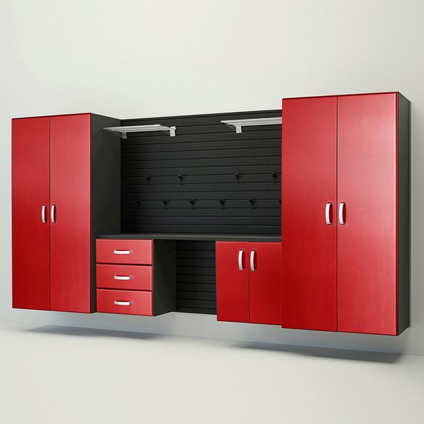 5pc Deluxe Garage Workstation - Black/Red Carbon