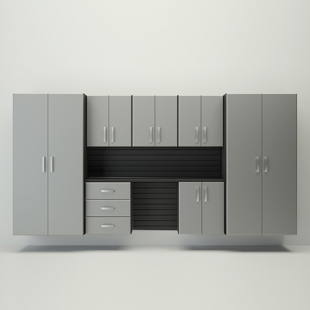 8pc Cabinet Deluxe Workstation - Black/Silver