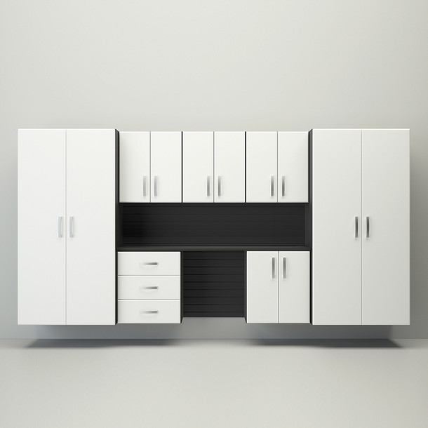 8pc Cabinet Deluxe Workstation - Black/White