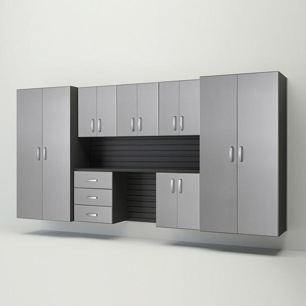 8pc Cabinet Deluxe Workstation - Black/Platinum Carbon