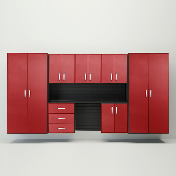 8pc Cabinet Deluxe Workstation - Black/Red Carbon
