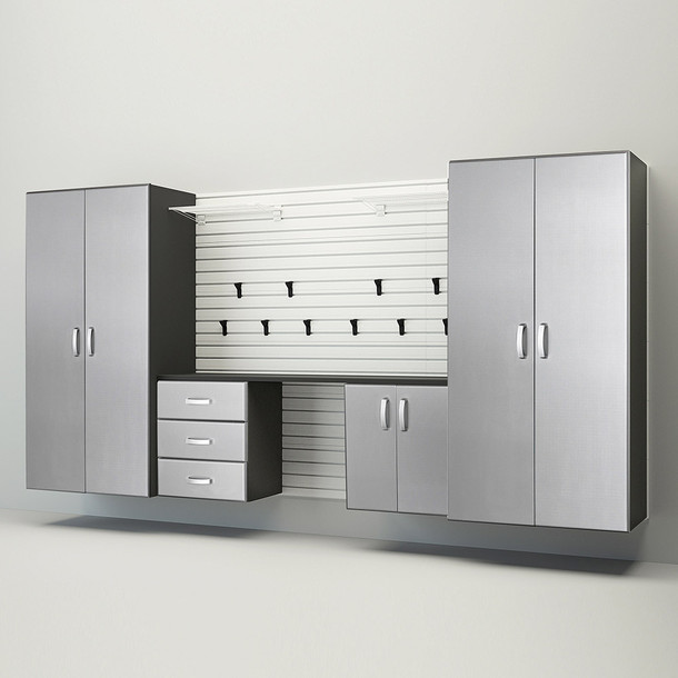 5pc Deluxe Garage Workstation - White/Platinum Carbon