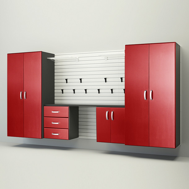 5pc Deluxe Garage Workstation - White/Red Carbon