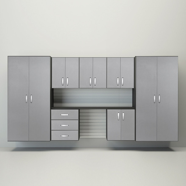 8pc Cabinet Garage Workstation - White/Platinum Carbon