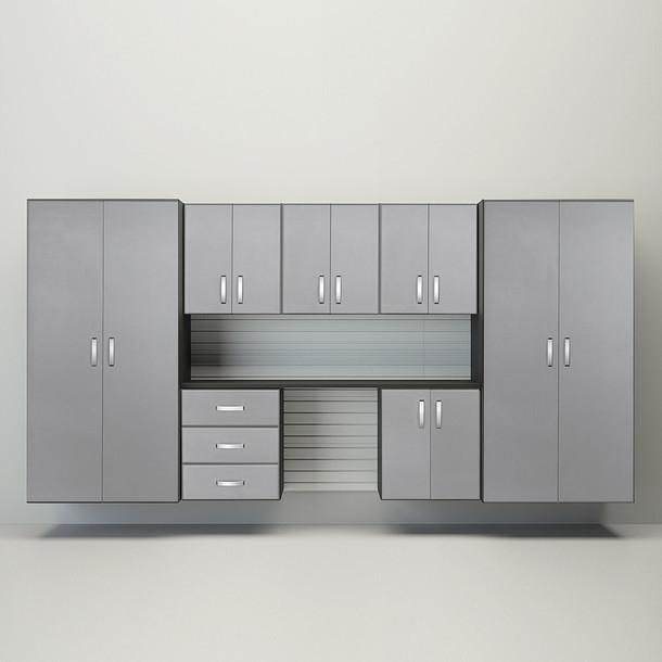 8pc Cabinet Garage Workstation - White/Platinum Carbon