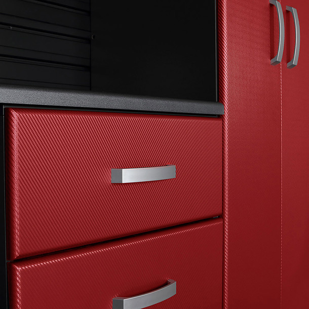 8pc Cabinet Deluxe Workstation - White/Red Carbon