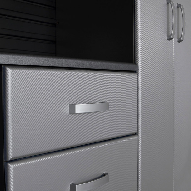 4pc Jumbo Cabinet Storage Center - White/Platinum Carbon