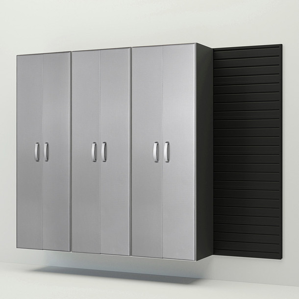 3pc Tall Cabinet Storage Set - Black/Platinum Carbon