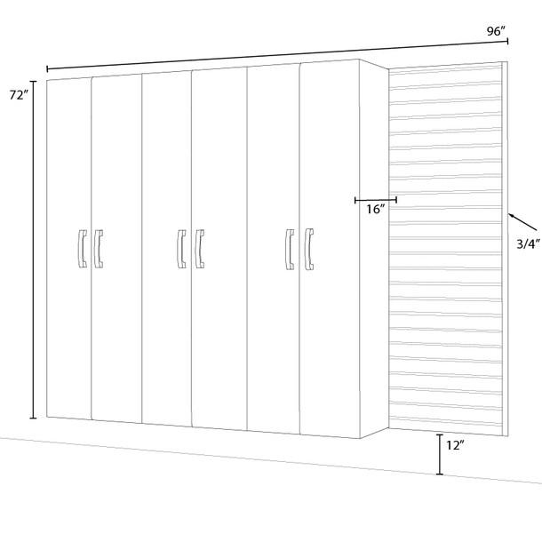 3pc Tall Cabinet Storage Set - Black/Platinum Carbon