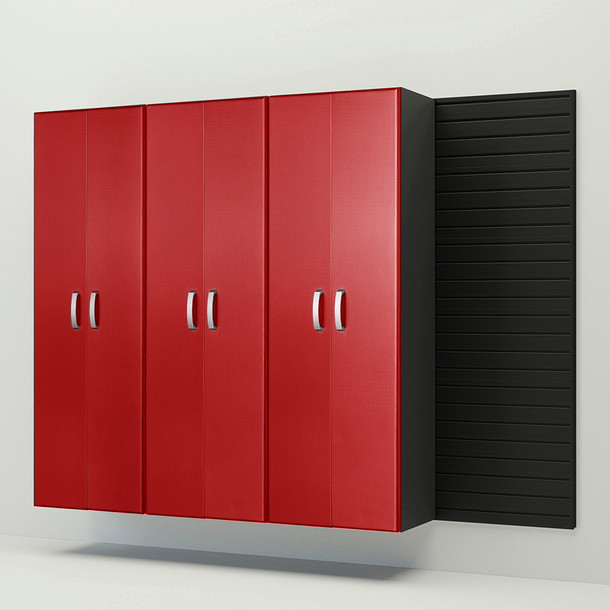 3pc Tall Cabinet Storage Set - Black/Red Carbon