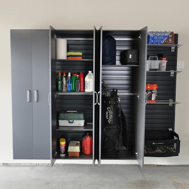 3pc Tall Cabinet Storage Set - Black/Graphite Carbon