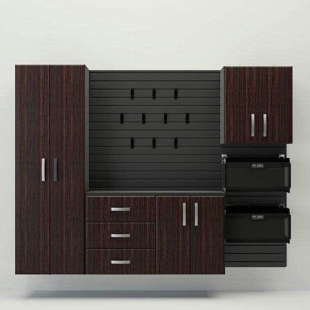 5pc Complete Storage Cabinet Set - Black/Espresso