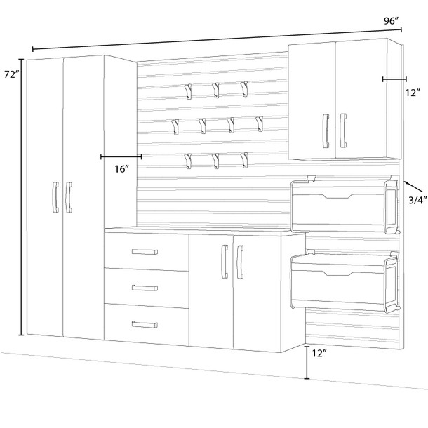 5pc Complete Storage Cabinet Set - Black/Platinum Carbon