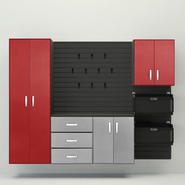 5pc Complete Storage Cabinet Set - Platinum & Red
