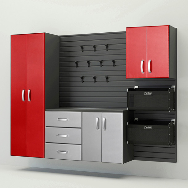 5pc Complete Storage Cabinet Set - Platinum & Red