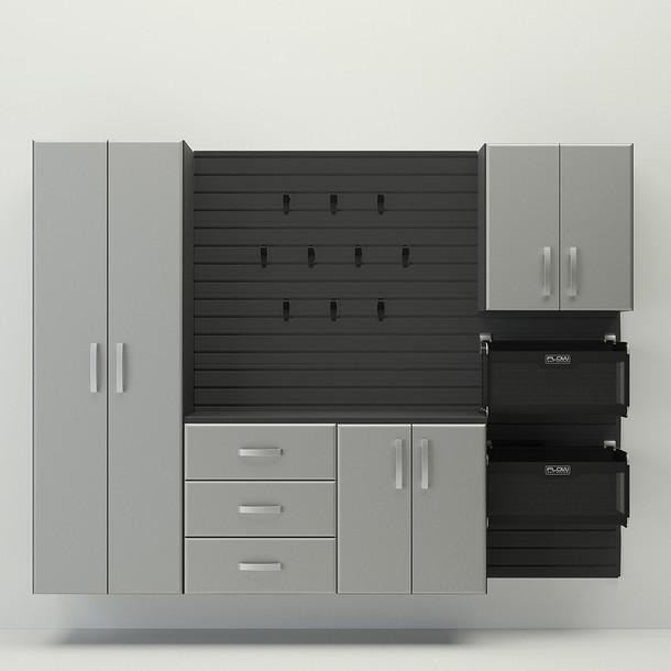 5pc Complete Storage Cabinet Set - Black/Silver
