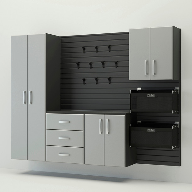 5pc complete storage cabinet set black silver for Black and silver cabinet