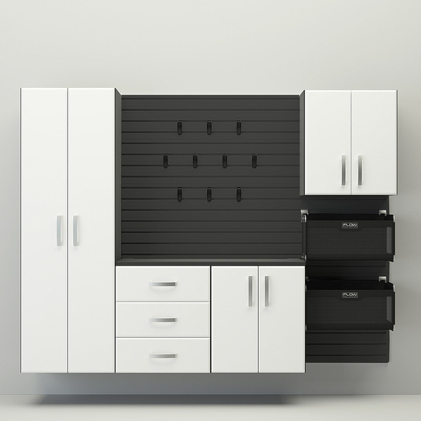 5pc Complete Storage Cabinet Set - Black/White