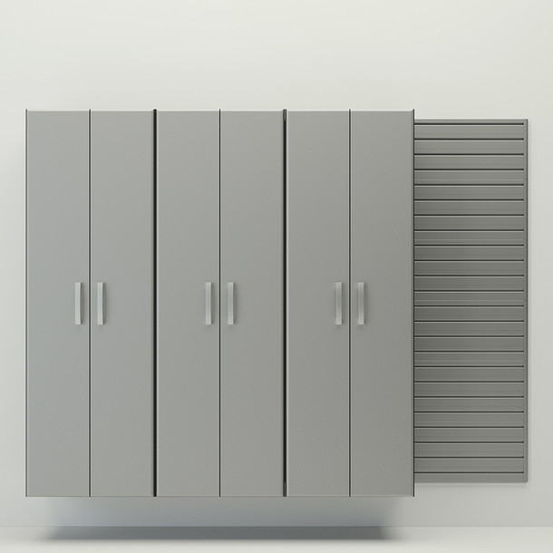 3pc Tall Cabinet Set - Silver
