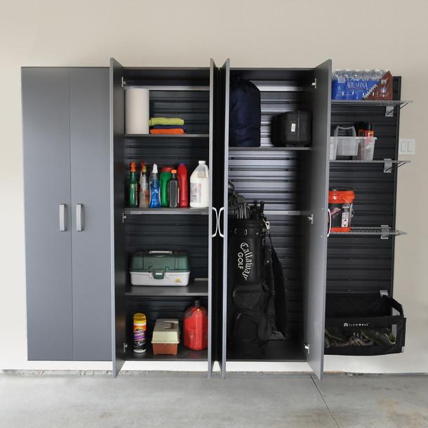3pc Tall Cabinet Storage Set - Silver/White