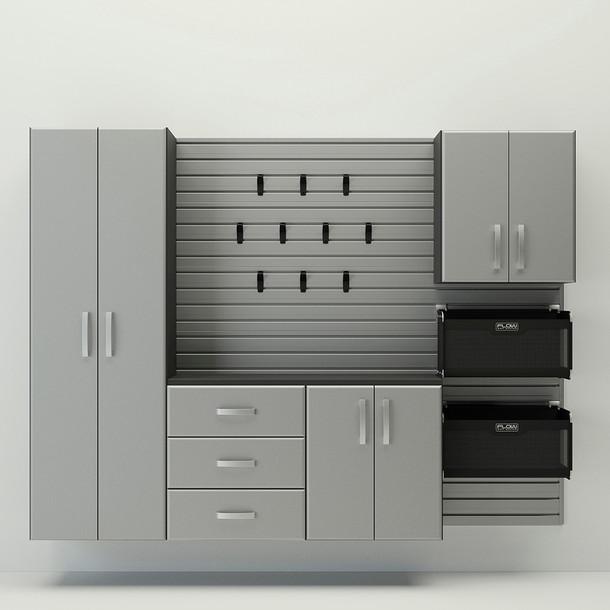 5pc Complete Storage Cabinet Set - Silver