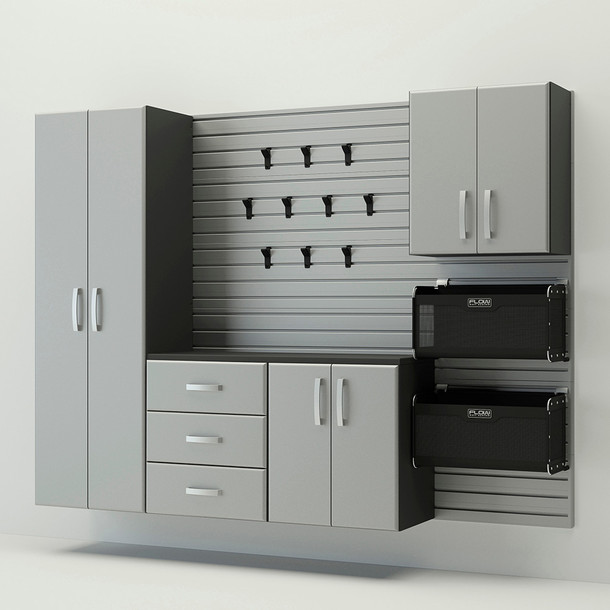 5pc Complete Storage Cabinet Set - Silver
