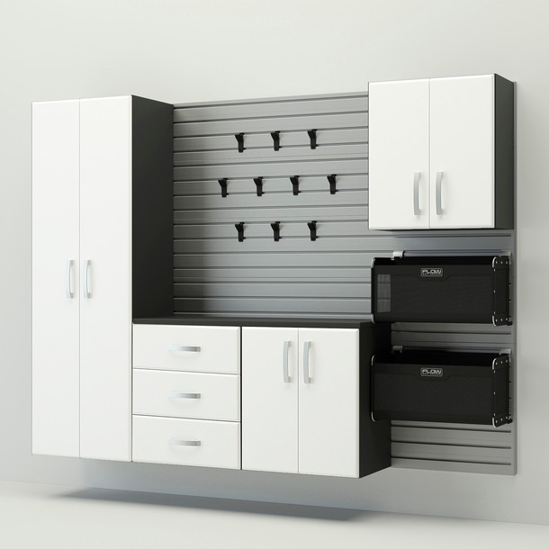 5pc Complete Storage Cabinet Set - Silver/White