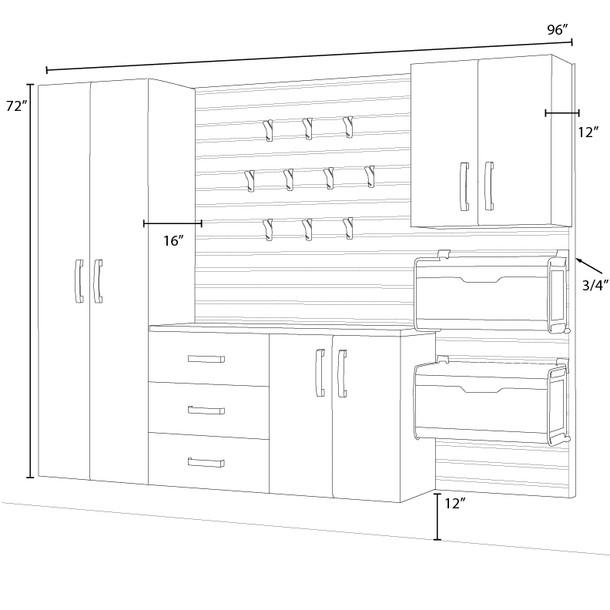 5pc Complete Storage Cabinet Set - Silver/White