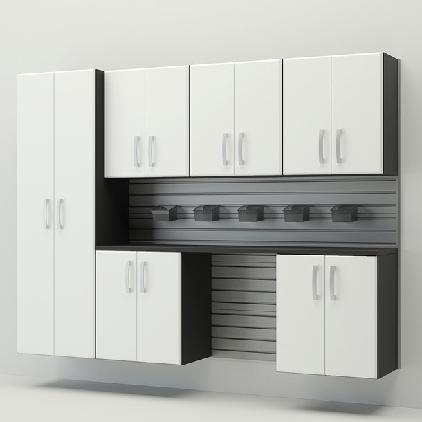 7pc Cabinet Storage Set - Silver/White