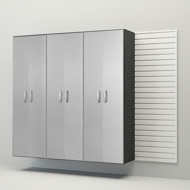 3pc Tall Cabinet Storage Set - White/Platinum Carbon