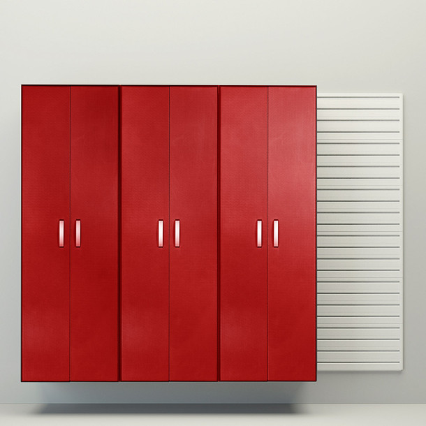 3pc Tall Cabinet Storage Set - White/Red Carbon
