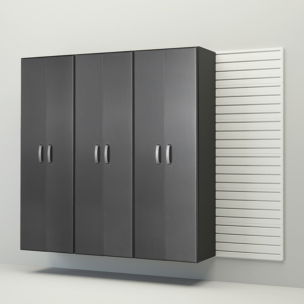 3pc Tall Cabinet Storage Set - White/Graphite Carbon