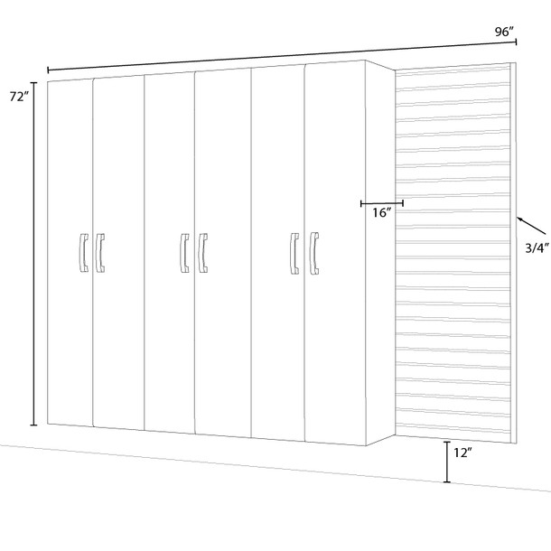 Flow Wall® 4pc Tall Cabinet Set - White/Graphite Carbon