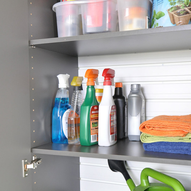 3pc Tall Cabinet Storage Set - White/Silver
