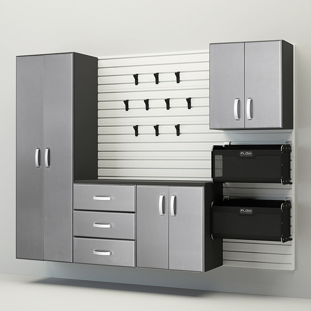5pc Complete Storage Cabinet Set - White/Platinum Carbon