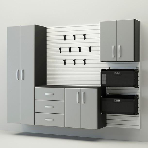 5pc Complete Storage Cabinet Set - White/Silver
