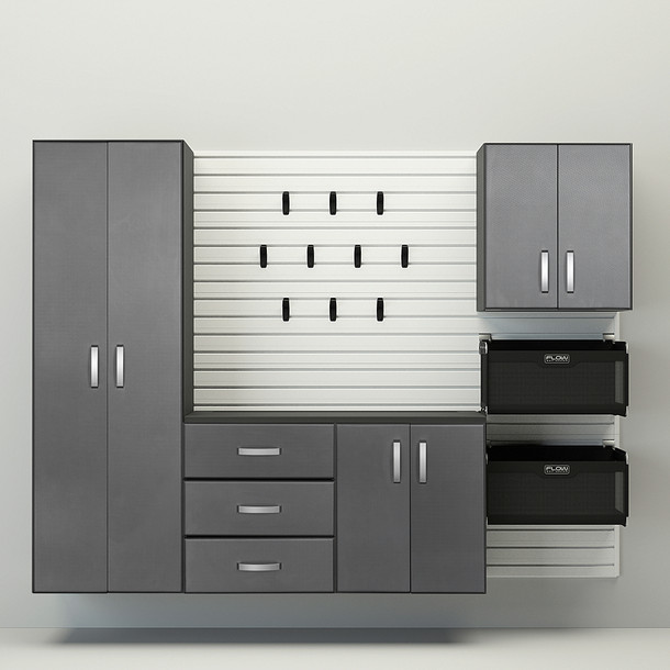 5pc Complete Storage Cabinet Set - White/Graphite Carbon