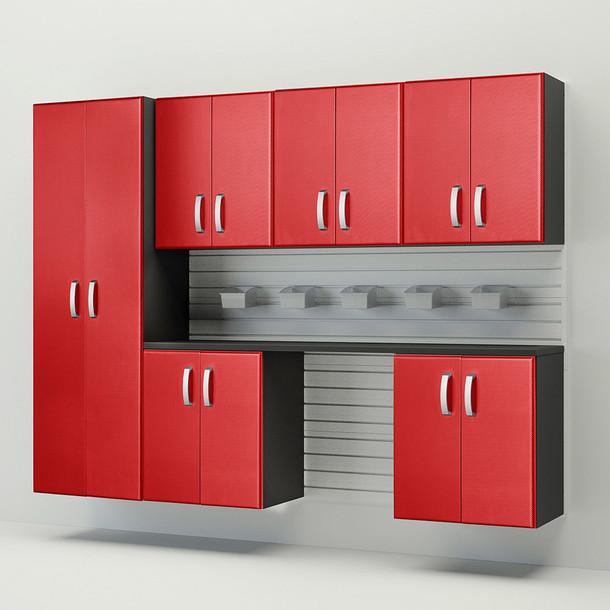 7pc Cabinet Storage Set - White/Red Carbon