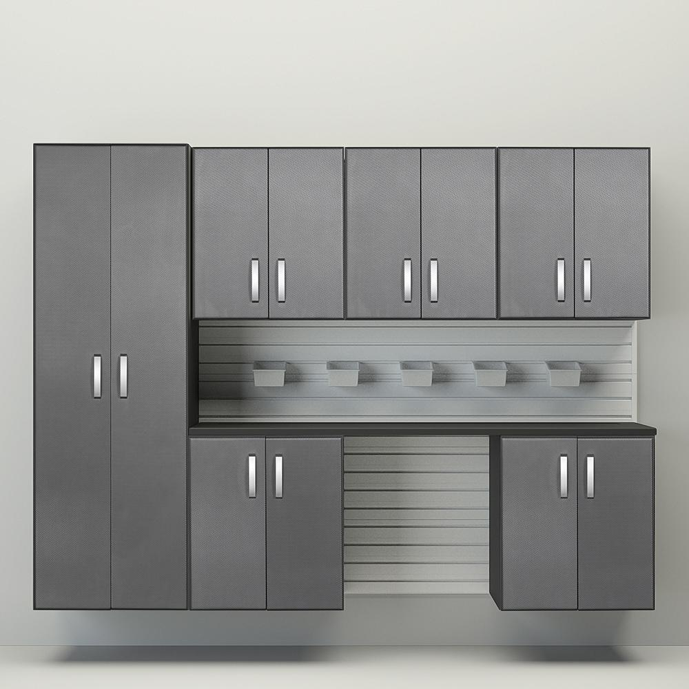 8pc Cabinet Set - White/Graphite Carbon by Flow Wall