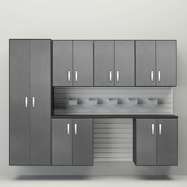 Flow Wall® 8pc Cabinet Set - White/Graphite Carbon