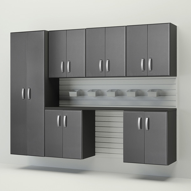 Flow Wall® 8pc Cabinet Set - White/Graphite Carbon